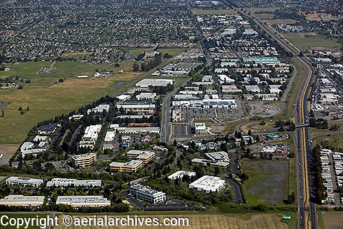 aerial photograph commercial office real estate, Petaluma, Sonoma county, California
