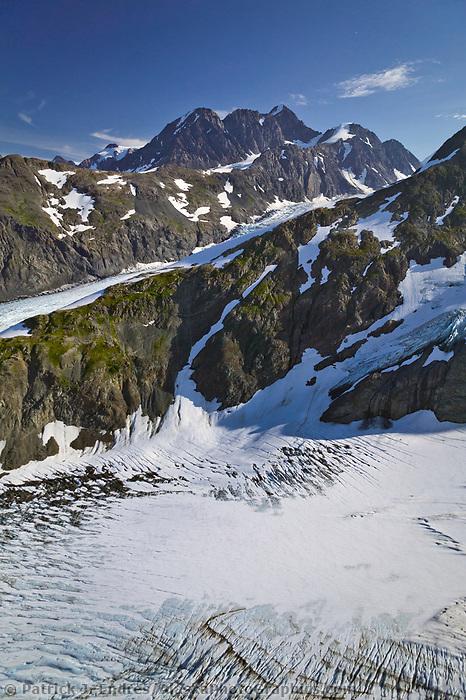 Aerial of Twenty mile glacier, Chugach mountains, Kenai Peninsula, Alaska