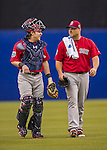 2 April 2016: Boston Red Sox catcher Ryan Hanigan walks from the bullpen to the dugout with his starting pitcher Sean O'Sullivan prior to an exhibition game against the Toronto Blue Jays at Olympic Stadium in Montreal, Quebec, Canada. The Red Sox defeated the Blue Jays 7-4 in the second of two MLB weekend games, which saw a two-game series attendance of 106,102 at the former home on the Montreal Expos. Mandatory Credit: Ed Wolfstein Photo *** RAW (NEF) Image File Available ***