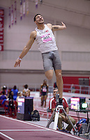 NWA Democrat-Gazette/BEN GOFF @NWABENGOFF<br /> Julian Harvey of SIU-Edwardsville competes in the long jump invitational Friday, Feb. 10, 2017 during the Tyson Invitational at the Randal Tyson Track Complex in Fayetteville. Harvey won the event with a jump of 26 feet, 5 and a half inches.