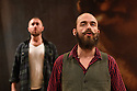 """Dundee, UK. 01.09.2016. Dundee Rep Theatre presents """"The Cheviot, The Stag and the Black, Black Oil"""" by  John McGrath,  directed by Associate Artistic Director, Joe Douglas. Picture shows:  Alasdair Macrae (front), Calum Macdonald. Photograph © Jane Hobson."""