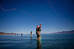 Dave Shaw fishes for Lahontan cutthroat trout at Pyramid Lake  in Sutcliffe, Nevada, April 18, 2013.
