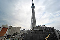 October 30, 2011, Tokyo, Japan - Standing 634 meters above the ground, Tokyo Sky Tree looms in downtown Tokyo on Sunday, October 30, 2011. The main observation deck of the terrestrial digital broadcasting tower was for the first time opened to the media. The three-story structure at 350 meters above the ground houses a restaurant, souvenir shop and an observation deck on the top floor. The tower begins its operation on May 22, 2012. (Photo by Natsuki Sakai/AFLO) [3615] -mis-