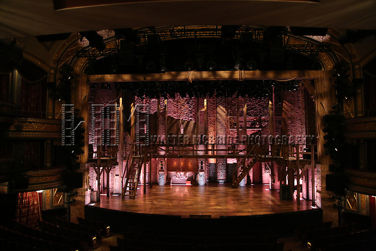 """Stage before the 'Hamilton' cast during a Q & A before The Rockefeller Foundation and The Gilder Lehrman Institute of American History sponsored High School student #EduHam matinee performance of """"Hamilton"""" at the Richard Rodgers Theatre on 5/10/2017 in New York City."""