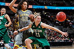 03 APR 2012:  Natalie Novosel (21) of the University of Notre Dame and Brittney Griner (42) of Baylor University battle for a loose ball during the Division I Women's Basketball Championship held at the Pepsi Center in Denver, CO.  Jamie Schwaberow/NCAA Photos