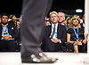 Conservative Party Conference <br /> Manchester, Great Britain <br /> Day 3<br /> 6th October 2015 <br /> <br /> Boris Johnson speech <br /> with brother and sister watching <br /> Jo Johnson and Rachel Johsnon <br /> <br /> <br /> <br /> Photograph by Elliott Franks <br /> Image licensed to Elliott Franks Photography Services