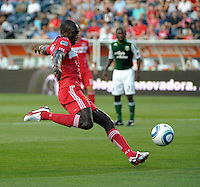 Chicago forward Dominic Oduro (8) takes a shot.  The Portland Timbers defeated the Chicago Fire 1-0 at Toyota Park in Bridgeview, IL on July 16, 2011.