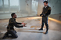 London, UK. 25.04.2014. VENICE PRESERV'D, a site responsive production, by the Spectators' Guild, opens at Payne & Borthwick Wharf. Picture shows: Ashley Zhangazha (Jaffier) and Ferdinand Kingsley (Pierre). Photograph © Jane Hobson.