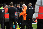 West Ham United 2 Crystal Palace 2, 02/04/2016. Boleyn Ground, Premier League. Home manager Salvan Bilic (centre) remonstrating with referee Mark Clattenburg at the end of the match at the Boleyn Ground as West Ham United hosted Crystal Palace in a Barclays Premier League match. The Boleyn Ground at Upton Park was the club's home ground from 1904 until the end of the 2015-16 season when they moved into the Olympic Stadium, built for the 2012 London games, at nearby Stratford. The match ended in a 2-2 draw, watched by a near-capacity crowd of 34,857. Photo by Colin McPherson.