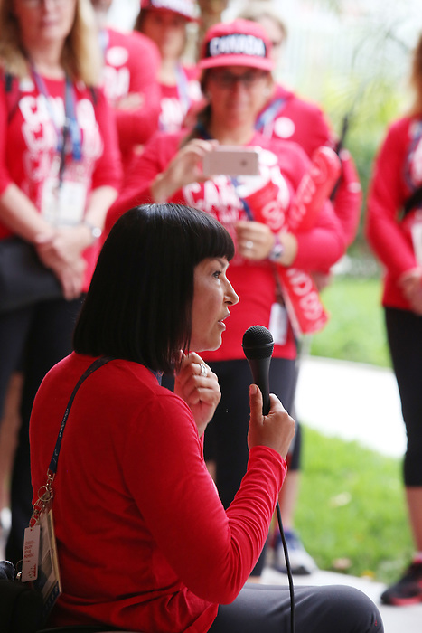 Rio de Janeiro-5/9/2016- Chef de Mission Chantal Petitclerc talks tot eam Canada pep rally in the athletes village at the Paralympic Games in Rio. Photo Scott Grant/Canadian Paralympic Committee