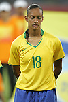 09 August 2008: Rosana (BRA).  The women's Olympic soccer team of Brazil defeated the women's Olympic soccer team of North Korea 2-1 at Shenyang Olympic Sports Center Wulihe Stadium in Shenyang, China in a Group F round-robin match in the Women's Olympic Football competition.