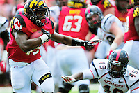 RB Brandon Ross of the Terrapins stiff arms a defender. Maryland defeated Richmond 50-21 during home season opener at the Byrd Stadium in College Park, MD on Saturday, September 5, 2015.  Alan P. Santos/DC Sports Box