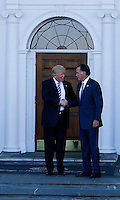 Mitt Romney (L) leaves after meeting with United States President-elect Donald Trump (R) and Vice President-elect Mike Pence (unseen) at the clubhouse of Trump International Golf Club, November 19, 2016 in Bedminster Township, New Jersey. <br /> Credit: Aude Guerrucci / Pool via CNP /MediaPunch