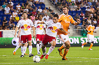 Connor Lade (16) of the New York Red Bulls. The New York Red Bulls defeated the Houston Dynamo 2-0 during a Major League Soccer (MLS) match at Red Bull Arena in Harrison, NJ, on August 10, 2012.