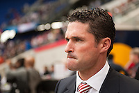 New England Revolution head coach Jay Heaps. The New York Red Bulls defeated the New England Revolution 1-0 during a Major League Soccer (MLS) match at Red Bull Arena in Harrison, NJ, on April 28, 2012.
