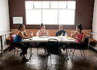 Andrea Chirinos and the dance group CEprodac at the INBA dance studio in the center of Mexico City.