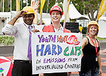 International youth advocate the need for hard caps on the emissions of industrial countries. United Nations Climate Change Conference, Dec 4, 2007. L-R Kartikeya Singh (SustainUs), Jeff Beyer, (CYD) Elisabeth Helseth (EU). (©Robert vanWaarden, Nusa Dua, Indonesia, Dec 5, 2007)