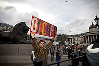 Protester - 2011<br /> <br /> London, 09/11/2011. National Campaign Against Fees and Cuts (NCAFC) organised a march in central London to protest against tuition fee hikes and cuts in public services. Around 5,000 people attended the event surrounded and escorted by 4,000 police officers (some of them mounted on horses). When the march reached Trafalgar Square about 100 protesters, armed with tents, tried to stage a symbolic occupation at the base of the Nelsons Column but police arrested them almost immediately. In the meanwhile, the main march continued its walk toward the City of London where sporadic clashes with the police took place. The demonstration ended peacefully in Finsbury Square. However, at 19:50 a group of between 15 - 20 protesters who were waiting for friends on Holborn Viaduct were arrested under unclear charges. All journalists and public members were prohibited from accompanying the detained protestors as they were escorted away from the scene by police in riot control equipment to be de-arrested at a tube station.