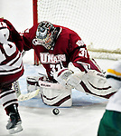 24 November 2009: University of Massachusetts Minuteman goaltender Paul Dainton, a Junior from Fort McMurray, Alberta, in action against the University of Vermont Catamounts at Gutterson Fieldhouse in Burlington, Vermont. The Minutemen defeated the Catamounts 6-2. Mandatory Credit: Ed Wolfstein Photo
