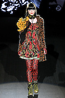 Fabiana walks runway in an I Need Love outfit, from the Betsey Johnson Fall 2011 He Loves Me Not - Black Tag collection, during Mercedes-Benz Fashion Week Fall 2011.
