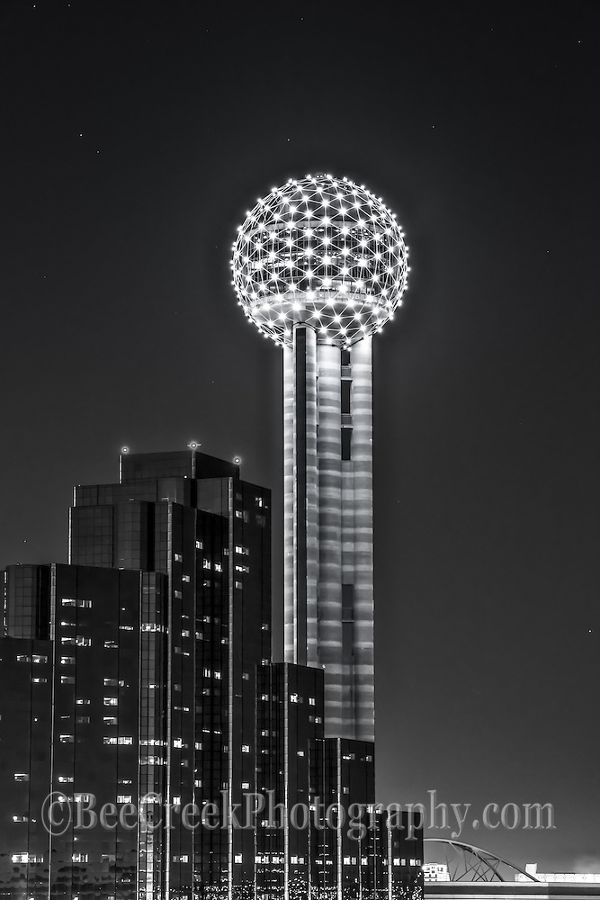 This is an image we took of the Dallas Reuion Tower with the Hyatt Regency in Black and White.
