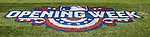 6 April 2015: Opening Week graphics are displayed on the turf prior to the Washington Nationals Season Opening Game against the New York Mets at Nationals Park in Washington, DC. The Mets rallied to defeat the Nationals 3-1 in their first meeting of the 2015 MLB season. Mandatory Credit: Ed Wolfstein Photo *** RAW (NEF) Image File Available ***