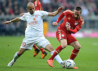 FUSSBALL   1. BUNDESLIGA  SAISON 2011/2012   31. Spieltag FC Bayern Muenchen - FSV Mainz 05       14.04.2012 Elkin Soto (li, 1. FSV Mainz 05) gegen Franck Ribery (FC Bayern Muenchen)