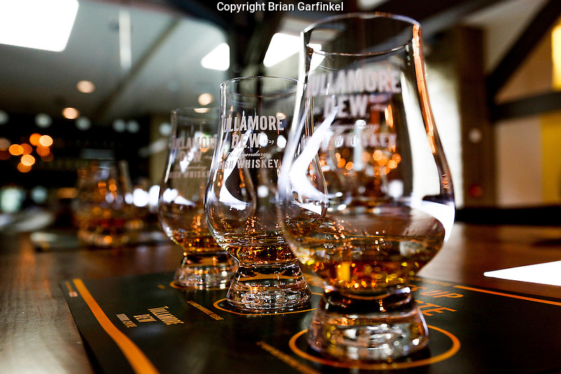 Whiskey samples are seen at the Tullamore Dew Experience in Tullamore, County Offaly, Ireland on Monday, June 24th 2013. (Photo by Brian Garfinkel)