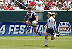 27 June 2004: Shannon MacMillan (8) and Nel Fettig (14). The San Diego Spirit defeated the Carolina Courage 2-1 at the Home Depot Center in Carson, CA in Womens United Soccer Association soccer game featuring guest players from other teams.