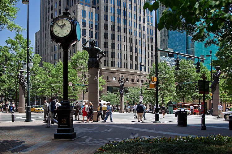 """Charlotte NC Uptown - The """"Square"""" is the Corners of Trade and Tryon, where the famous Four Statues are located"""