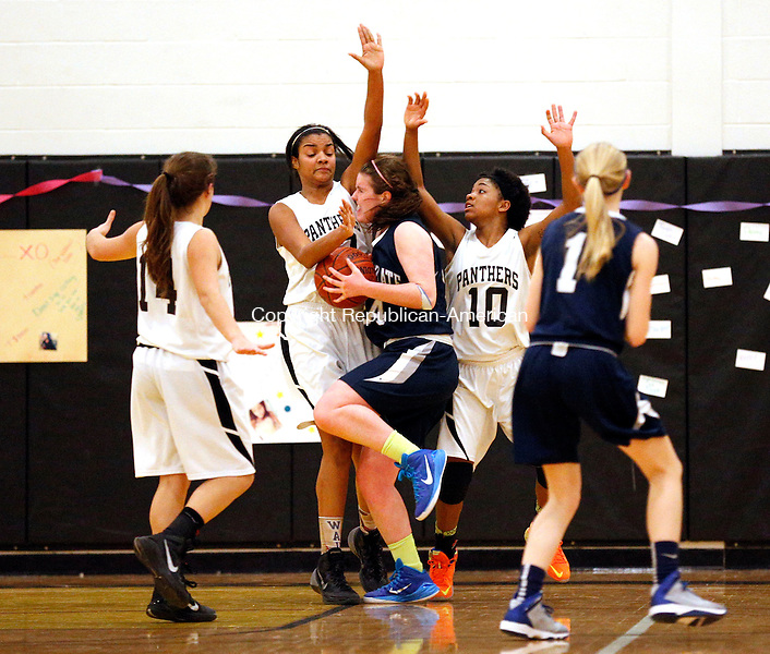 Waterbury, CT- 18 February 2015-021815CM16- Kaynor Tech's Taleeha Green (center) is called for fouling Immaculate's Kathryn Kerins  during their basketball matchup in Waterbury on Wednesday.  Also in the play are Kaynor's Cassie Couture (14) and Sydney Craig (10).  Immaculate defeated Kaynor, 41-30. Christopher Massa Republican-American