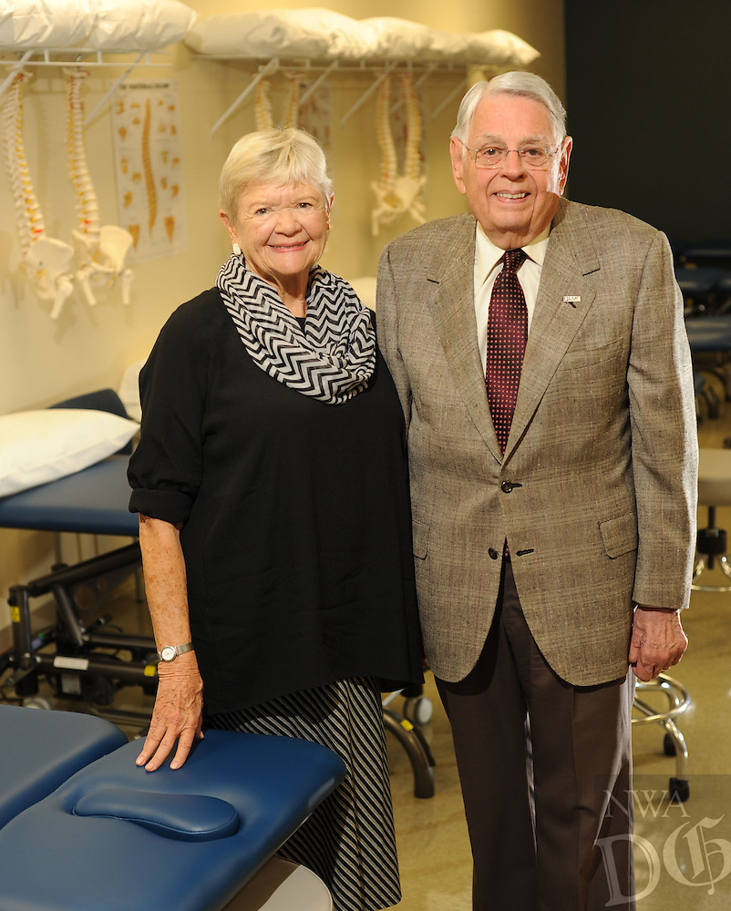 NWA Democrat-Gazette/ANDY SHUPE<br /> Lewis Epley Jr. of Fayetteville was reunited with Corrine Wulkan Larson, his physical therapist who helped him through polio in 1953, Tuesday, June 9, 2015, on a tour of the new physical therapy school on the UAMS Northwest Campus in Fayetteville.