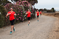 A runner captured in four images, combined into one, along the San Francisco Bay Trail's eastern shore.