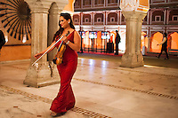 Australian violinist Niki Vasilakis approaches the stage at her violin recital at the OzFest Gala Dinner in the Jaipur City Palace, in Rajasthan, India on 10 January 2013. Photo by Suzanne Lee