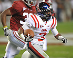 Ole Miss running back Jeff Scott (3) runs at Bryant-Denny Stadium in Tuscaloosa, Ala.  on Saturday, October 16, 2010. Alabama won 23-10.