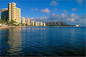 Waikiki Beach hotels and Diamond Head; Honolulu, Oahu, Hawaii.
