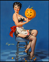 BNPS.co.uk (01202 558833)<br /> Pic: HeritageAuctions/BNPS<br /> <br /> All Smiles (Glamorous; Glamorous and Witchcraft) by Gil Elvgren estimated at &pound;48,000.<br /> <br /> These are the pin-ups troops stuck to their walls to keep morale up while far away from home during the Second World War.<br /> <br /> Before the era of Playboy magazine and the advent of the internet, a group of artists saw an opportunity and started producing pieces of art work of scantily clad women which would get pulses racing.<br /> <br /> The format took off during the war while American troops were overseas and far away from their wives and partners and continued to prove popular throughout the 1950s and into the 1960s. <br /> <br /> Now, original oil on canvas paintings have emerged for auction from the leading names of the genre including Gil Elvgren, Haddon Hubbard Sundblom, Alberto Vargas and Enoch Bolles.<br /> <br /> The marquee piece is Fire Belle (1956) by Elvgren of a lady in a bright red hat and red boots sliding down a fireman's pole which is tipped to sell for &pound;120,000 ($150,000).