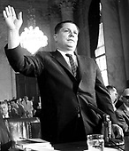 Washington, DC - June 7, 1959 - Teamsters President James R. (Jimmy) Hoffa is sworn in before his testimony before the Senate Committee investigating Union Racketeering in Washington, DC on June 7, 1959.<br /> Credit: Benjamin E. &quot;Gene&quot; Forte