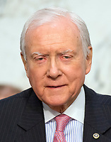 United States Senator Orrin Hatch (Republican of Utah) listens as Judge Neil Gorsuch testifies before the United States Senate Judiciary Committee on his nomination as Associate Justice of the US Supreme Court to replace the late Justice Antonin Scalia on Capitol Hill in Washington, DC on Tuesday, March 21, 2017.  Senator Hatch serves as the President pro tempore of the United States Senate, which is third in the line of presidential succession.<br /> Credit: Ron Sachs / CNP /MediaPunch