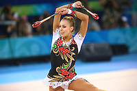 August 23, 2008; Beijing, China; Rhythmic gymnast Inna Zhukova of Belarus performs with clubs on way to winning silver in the All-Around final at 2008 Beijing Olympics..(©) Copyright 2008 Tom Theobald