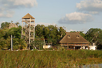 Zipline and palapa restaurant in Coba, Quintana Roo, Mexico.
