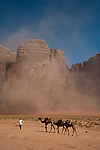 Bedoin with camels in Wadi Rum duststorm