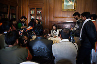 Pallavi Sharda (OzFest ambassador) (center, in white) fields questions by the media after a press conference on Oz Fest in Raj Mahal Palace hotel, Jaipur, India on 10th January 2013. Photo by Suzanne Lee/DFAT