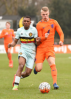 20170314 - UDEN , NETHERLANDS : Dutch Mitchel Bakker (R) and Belgian Ikoma Lois Openda (R) pictured during the UEFA Under 17 Elite round game between The Netherlands U17 and Belgium U17, on the first matchday in group 5 of the Uefa Under 17 elite round in The Netherlands , tuesday 14 th March 2017 . PHOTO SPORTPIX.BE | DIRK VUYLSTEKE