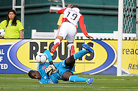 D.C. United goalkeeper Bill Hamid (28) goes down to make a save against Toronto FC forward Reggie Lambe (19)  D.C. United defeated Toronto FC 3-1 at RFK Stadium, Saturday May 19, 2012.