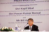 Bill Gates, co-chair of the Bill and Melinda Gates Foundation (BMGF) speaks about Tuberculosis issues at the &quot;Maximising India's Capacity&quot; press briefing hosted by the Ministry of Science and Technology, Government of India in Le Meridien Hotel, New Delhi, India on 24th March 2011..
