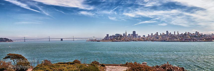 A panoramic view of San Francisco's skyline from the famous Alcatraz Island.
