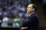 24 February 2015: NC State head coach Mark Gottfried. The University of North Carolina Tar Heels played the North Carolina State University Wolfpack in an NCAA Division I Men's basketball game at the Dean E. Smith Center in Chapel Hill, North Carolina. NC State won the game 58-46.