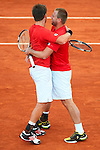 07.04.2012 Oropesa, Spain. 1/4 Final Davis Cup. Alexander Peya and his team mate Oliver Marach celebrate victory after winning the double match on day 2 of 1/4 final Davis Cup beetween Spain And Austria at Oropesa town.