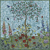 Custom 35 x 35 inch  Flower and Tree panel handmade with jewel glass by New Ravenna.<br />